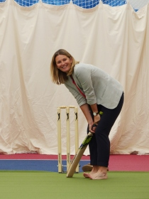 Charlotte Edwards takes to the crease
